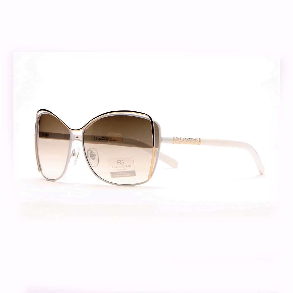 Women's Edgy Fashion Sunglasses w/ Sharp Gold Outline & Gold Side Decor