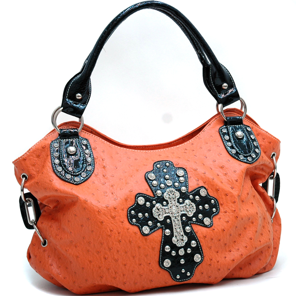 Ostrich Texture Fashion Hobo Bag w/ Croco Trim Cross Rhinestones