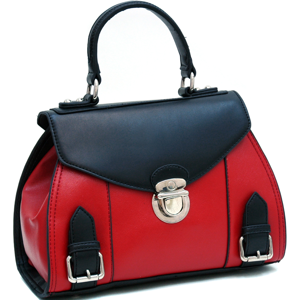 Dasein Petite Two-Toned Fashion Satchel with Buckle Accents - Black