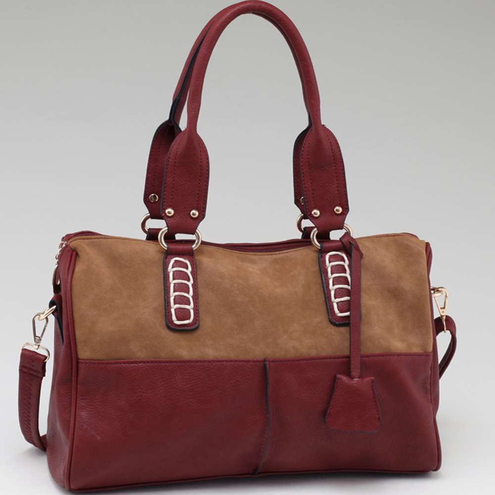 Two Tone Fashion Chic Shoulder Bag with Bonus Strap-Red/Brown
