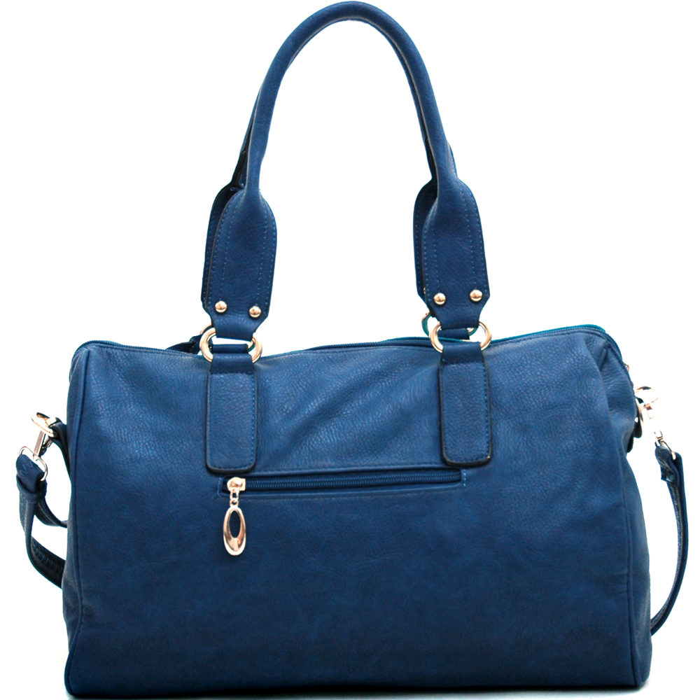 Two Tone Fashion Chic Shoulder Bag with Bonus Strap-Light Blue/Dark Blue