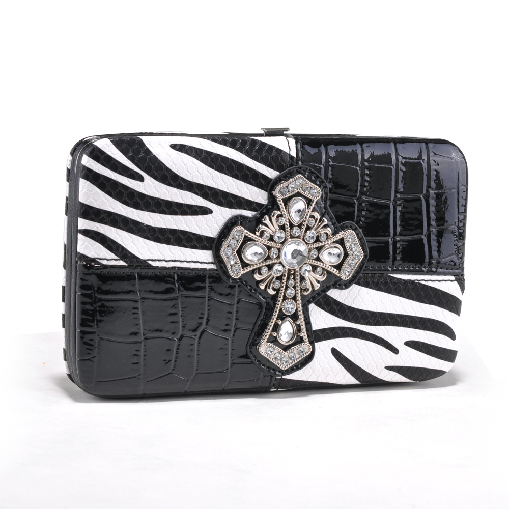 Alyssa Zebra Print and Croco Trim Frame Wallet with Rhinestone Cross-White/Zebra