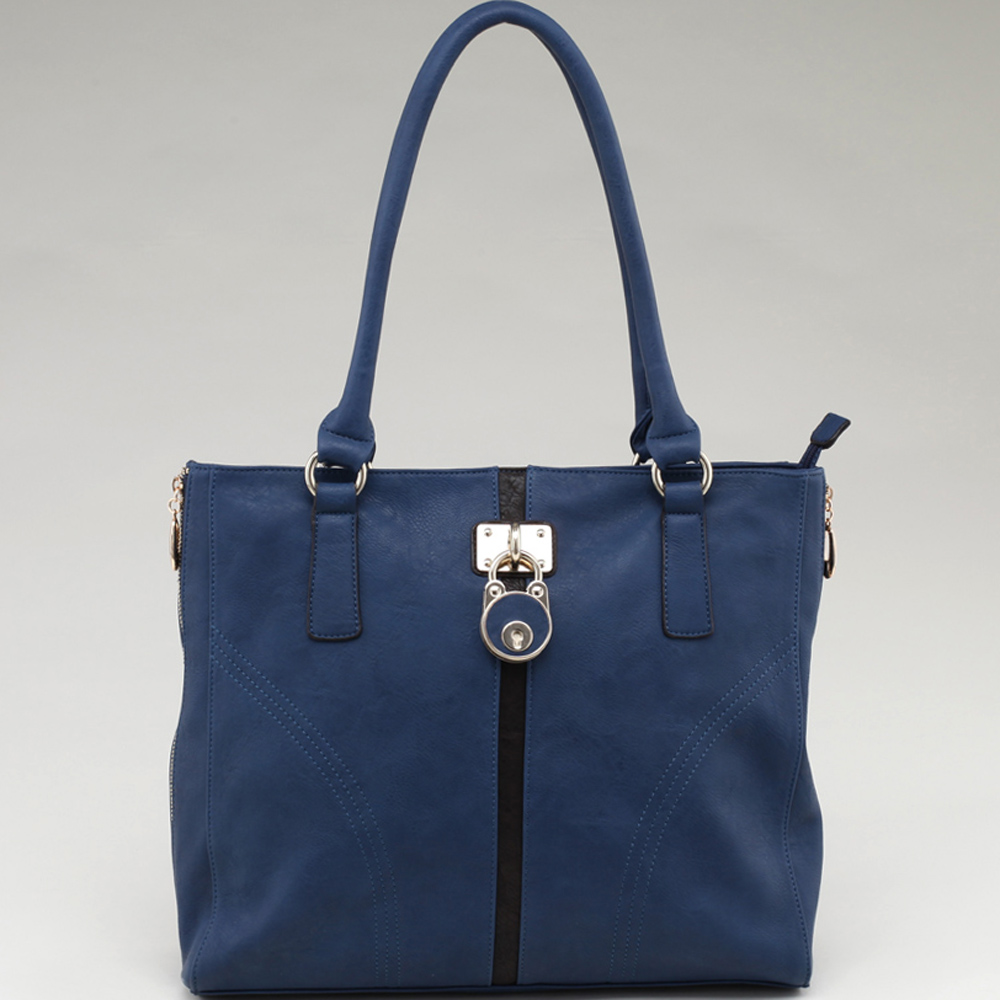 Alyssa Striped Fashion Tote Bag with Lock Accent & Side Zip Decor-Blue/Coffee