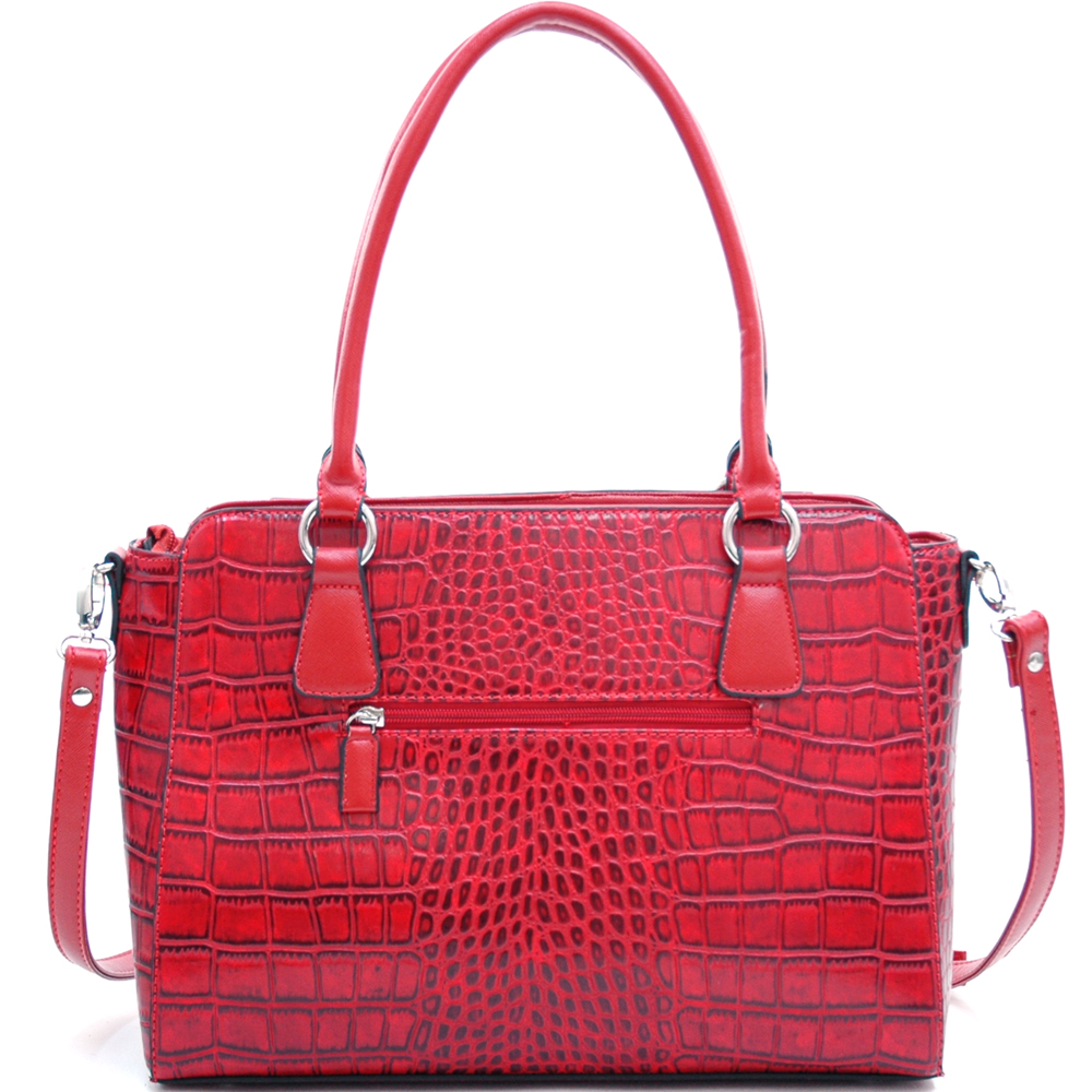 Dasein® Matte Croco Winged Tote w/ Belt Accent & Bonus Strap