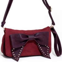Studded Bow Tie Convertible Clutch/Shoulder Bag