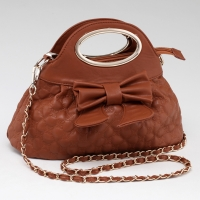 Mini A-line Satchel with Princess Bow & Floral Quilt Stitch - Brown
