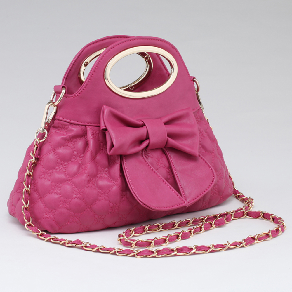 Mini A-line Satchel with Princess Bow & Floral Quilt Stitch - Pink