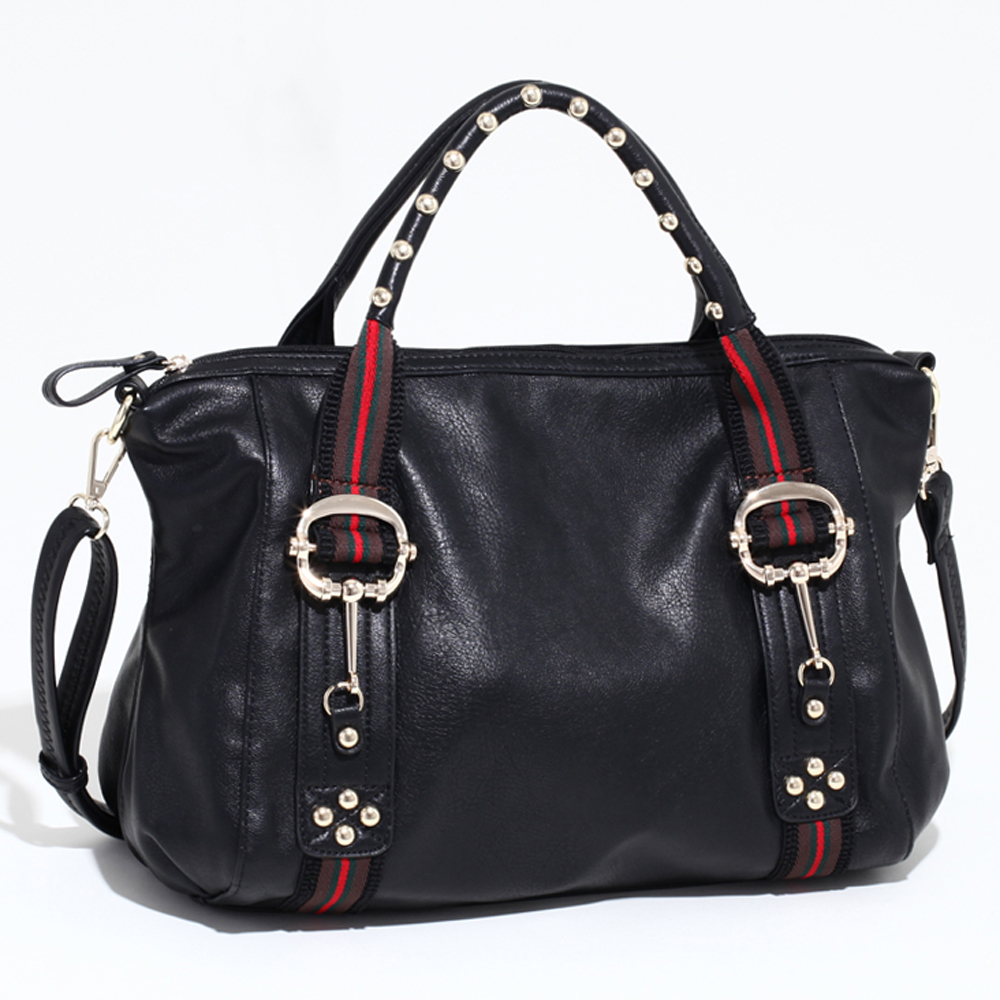 Large Studded Satchel with Fashion Inspired Stripes & Bonus Strap - Black