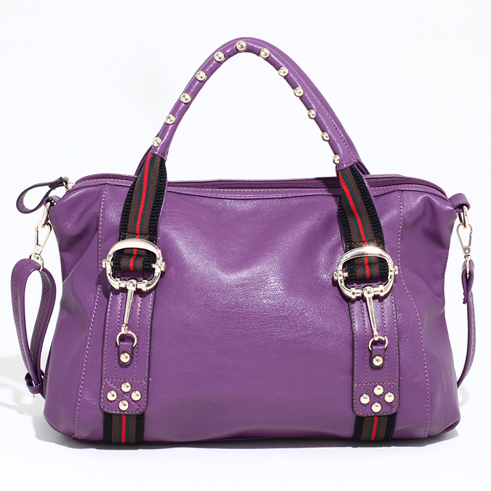 Large Studded Satchel with Fashion Inspired Stripes & Bonus Strap - Purple