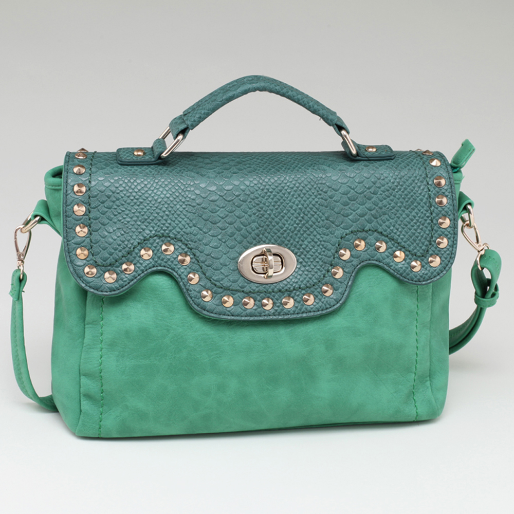 Women's Fashion Studded Briefcase w/ Snakeskin Trim & Twist-Lock Closure