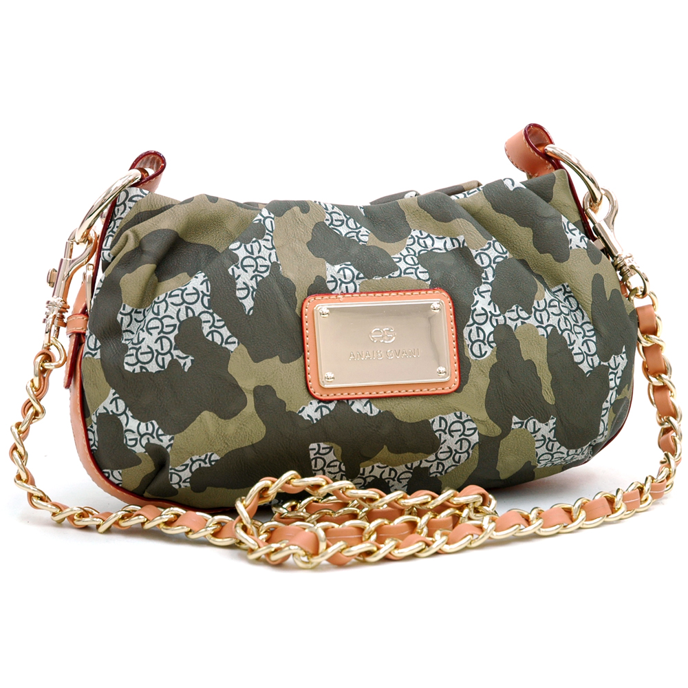 Anais Gvani® Fashion Petite Camouflage Style Cross Body/Shoulder Bag with Camel Trim