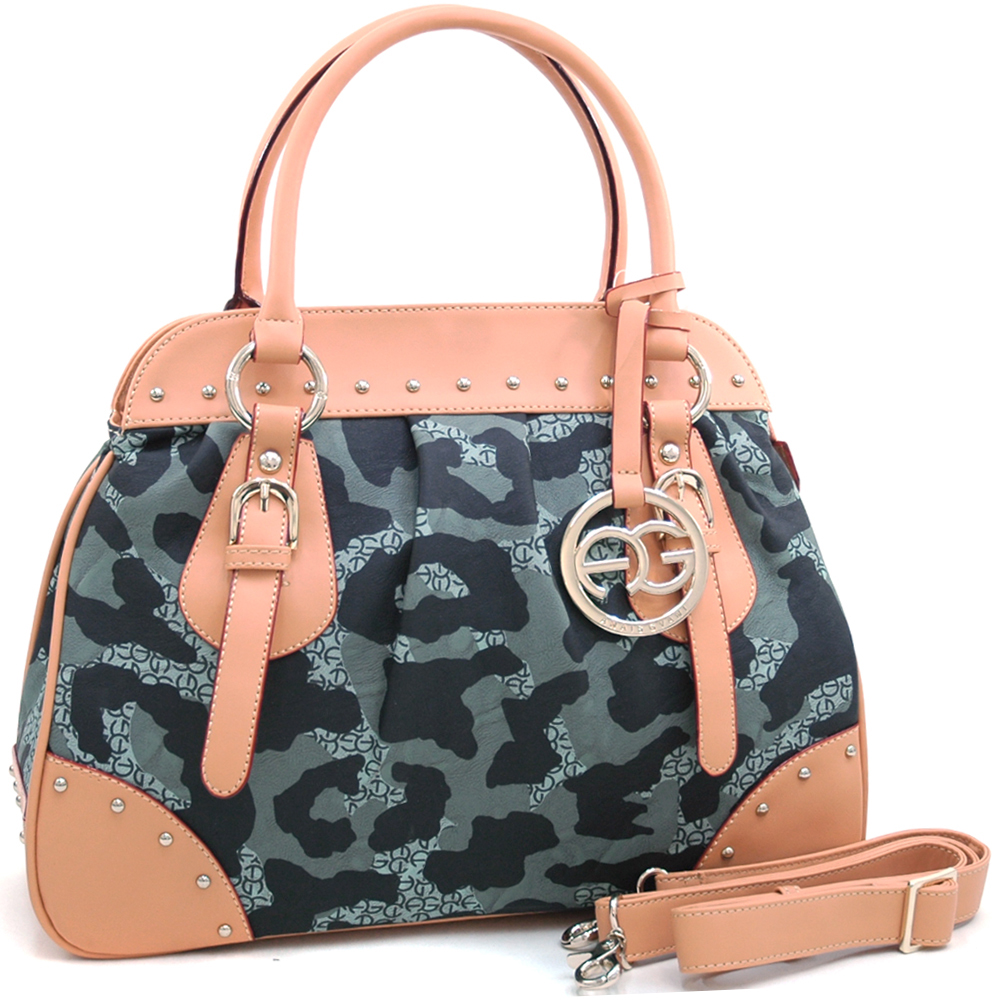 Anais Gvani ® Large Camouflage Satchel with Logo Charmed Tassel and Studded Accent-Black/Grey