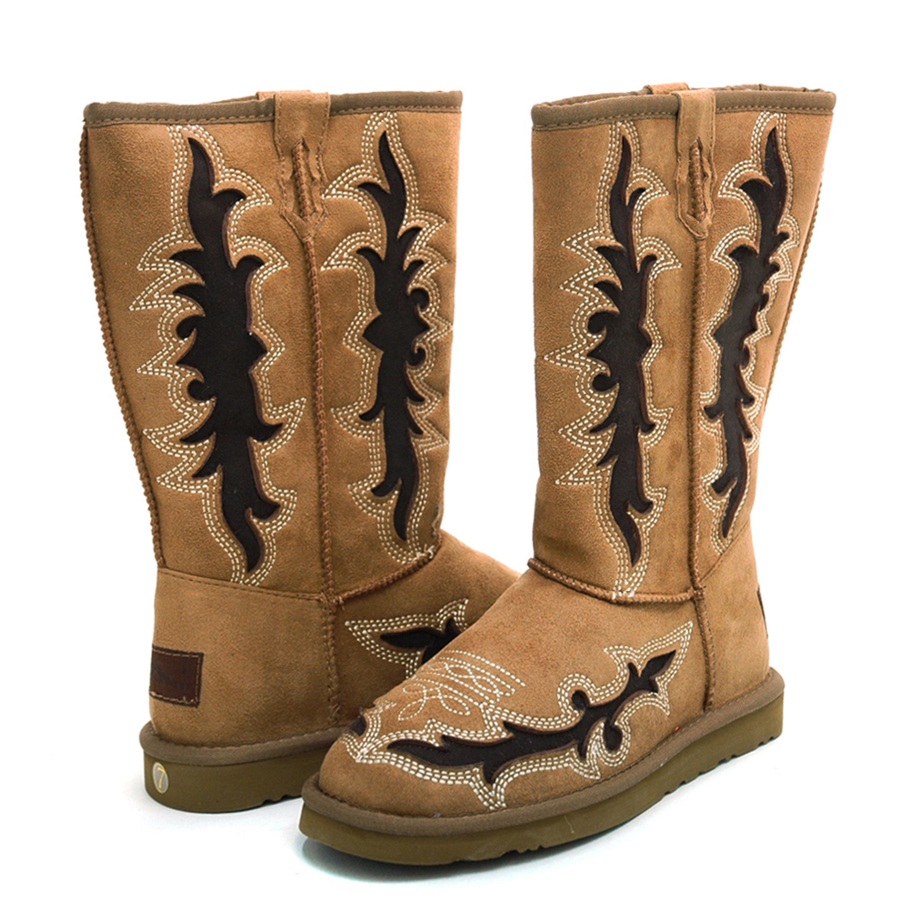 Montana West  Women's Western Style Boots with Embroidery & Rustic Cut-Out Design-Tan
