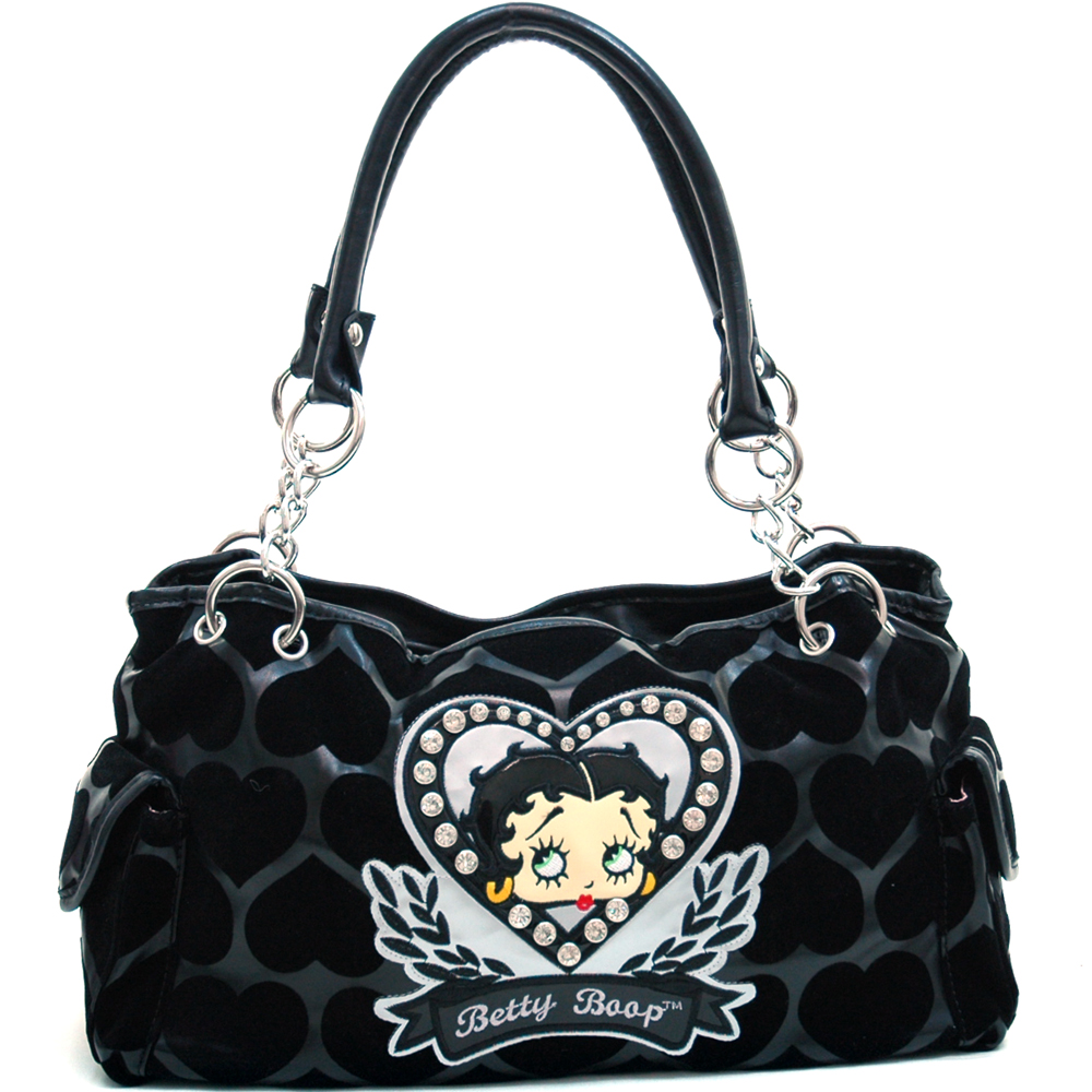 Betty Boop® Shoulder Bag with Velvet Heart Montage & Rhinestone Decor-Black