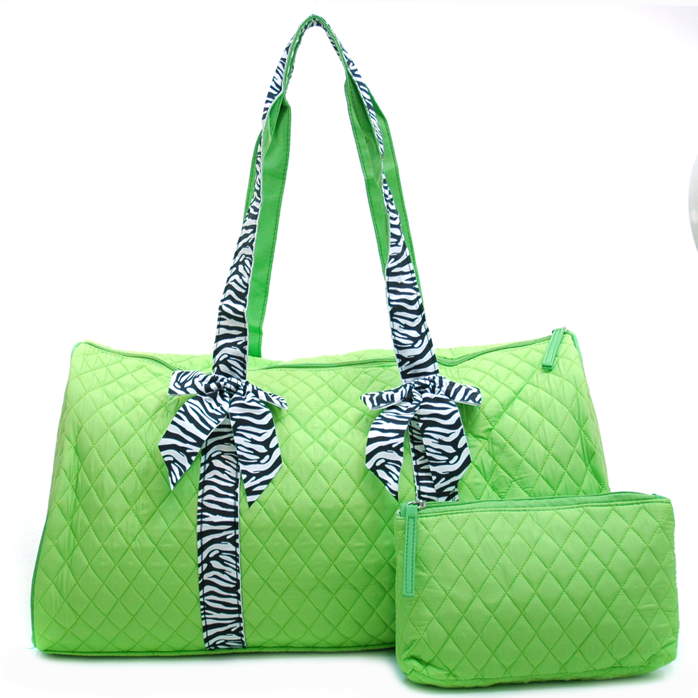 Quilted Zebra Trim Duffel Bag