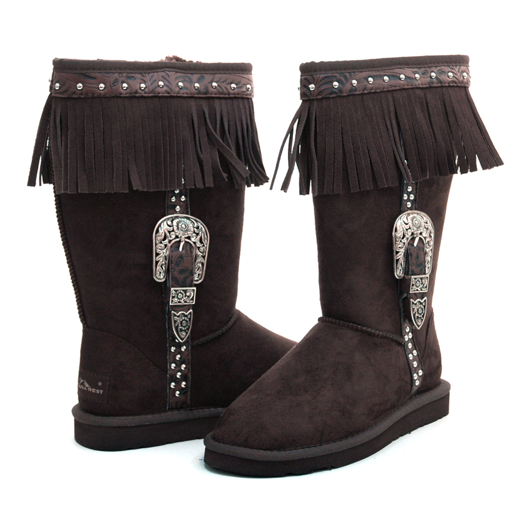 Montana West Women's Fashion Fringed & Belted Winter Boots-Coffee