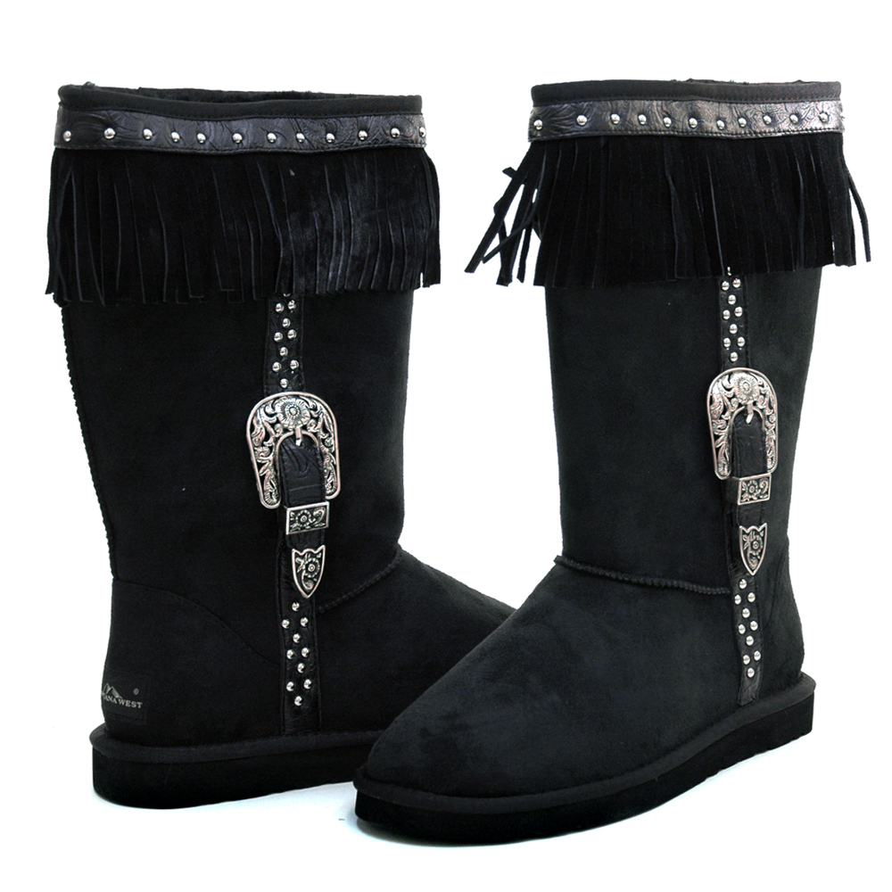 Montana West Women's Fashion Fringed & Belted Winter Boots-Black