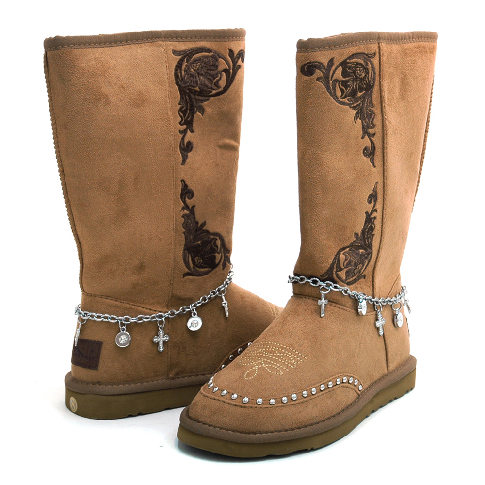 Montana West Women's Fashion Western Style Winter Boots with Anklet Accent-Tan