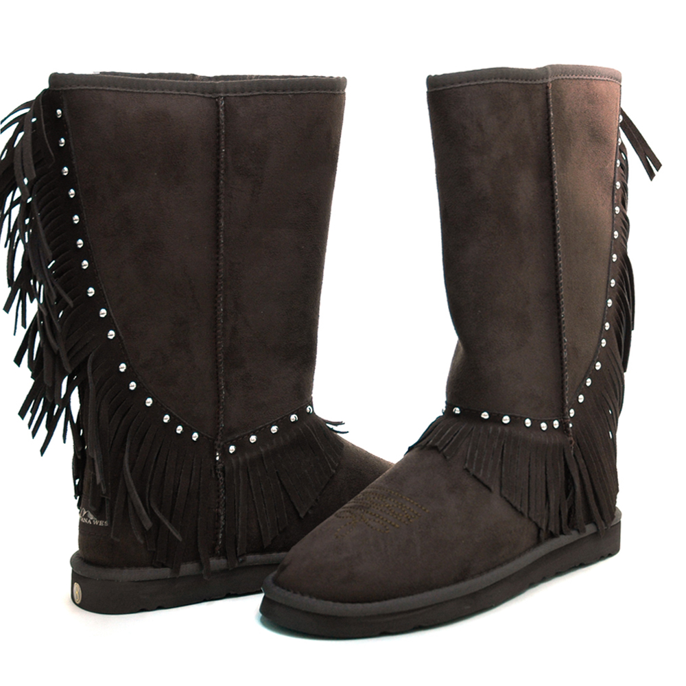 Montana West Women's Fringed Winter Boots with Stylish Stud Accents-Coffee