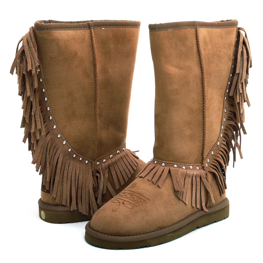 Montana West Women's Fringed Winter Boots with Stylish Stud Accents-Tan