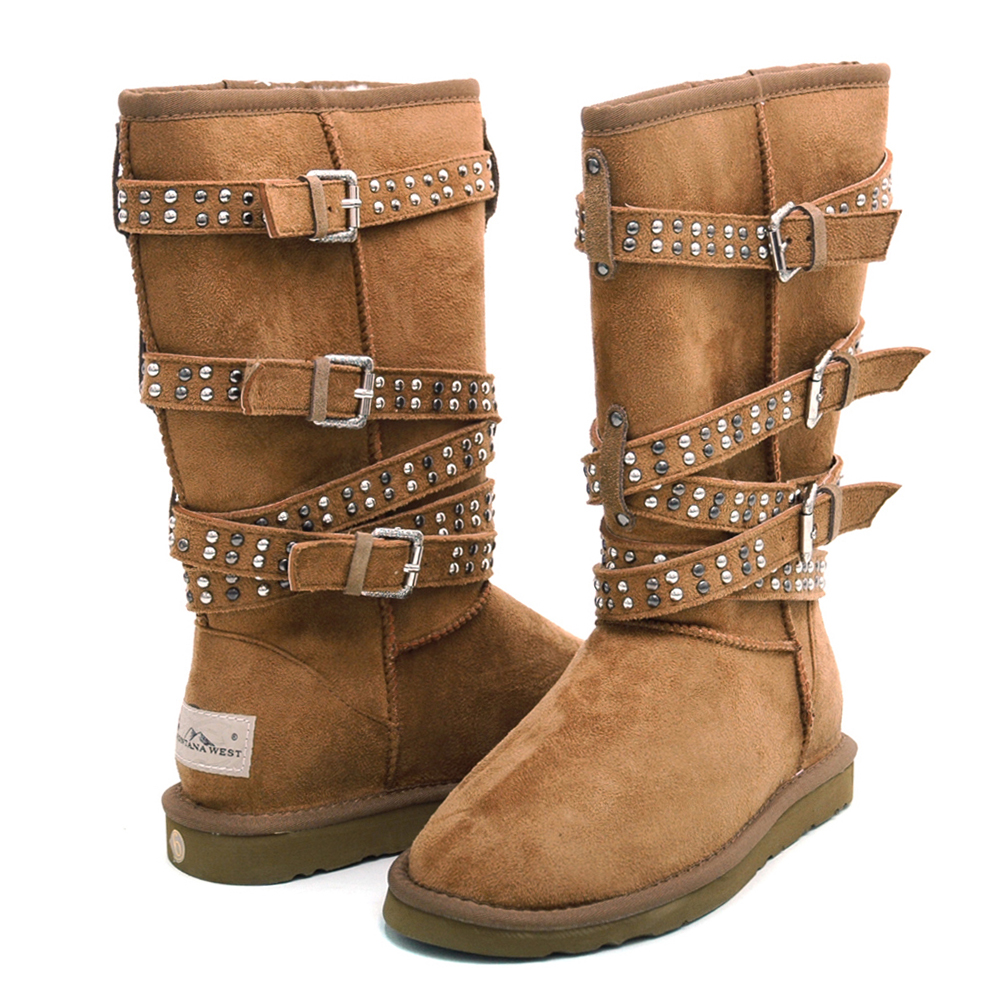 "Montana West ""Straight Jacket"" Winter Boots with Special Stud & Buckle Accents-Tan"