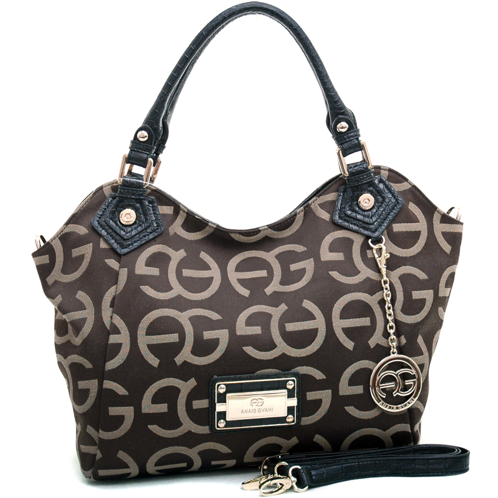 Anais Gvani ® Women's Sophisticated Shoulder Bag with Croco Trim & Logo Monogram-Coffee/Black