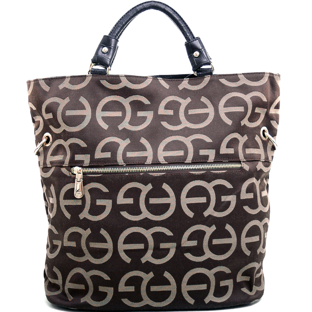 Anais Gvani Women's Tall Sophisticated Tote Bag with Croco Trim & Logo Monogram - Coffee/Black