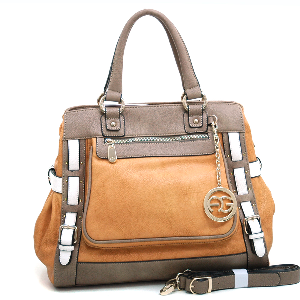 Anais Gvani ® Women's Multicolored Logo Print Satchel with Belted Accent & Logo Charm-Tan/Taupe/White