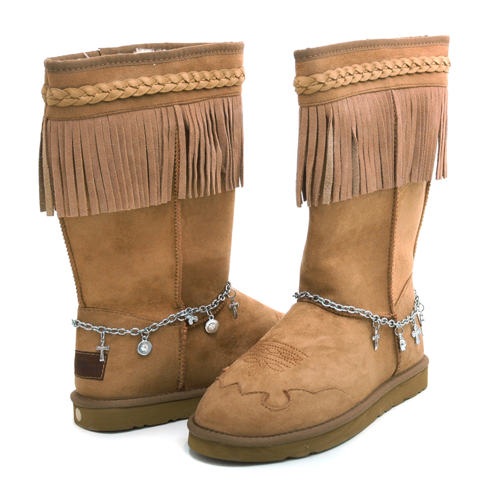Montana West Women's Fashion Fringe Winter Boots with Braided Trim & Anklet Decor-Tan