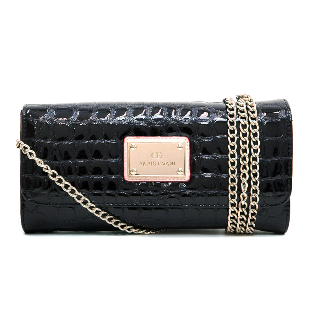 Anais Gvani® Battery Park Gold Chain Croco Clutch