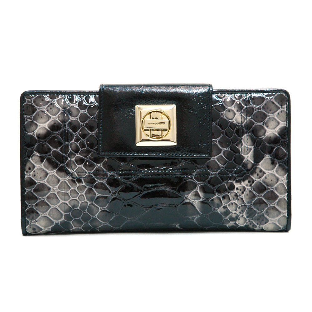 Anais Gvani ® Women's Genuine Tri-fold Checkbook Wallet with Snakeskin Texture & Twist Lock Closure