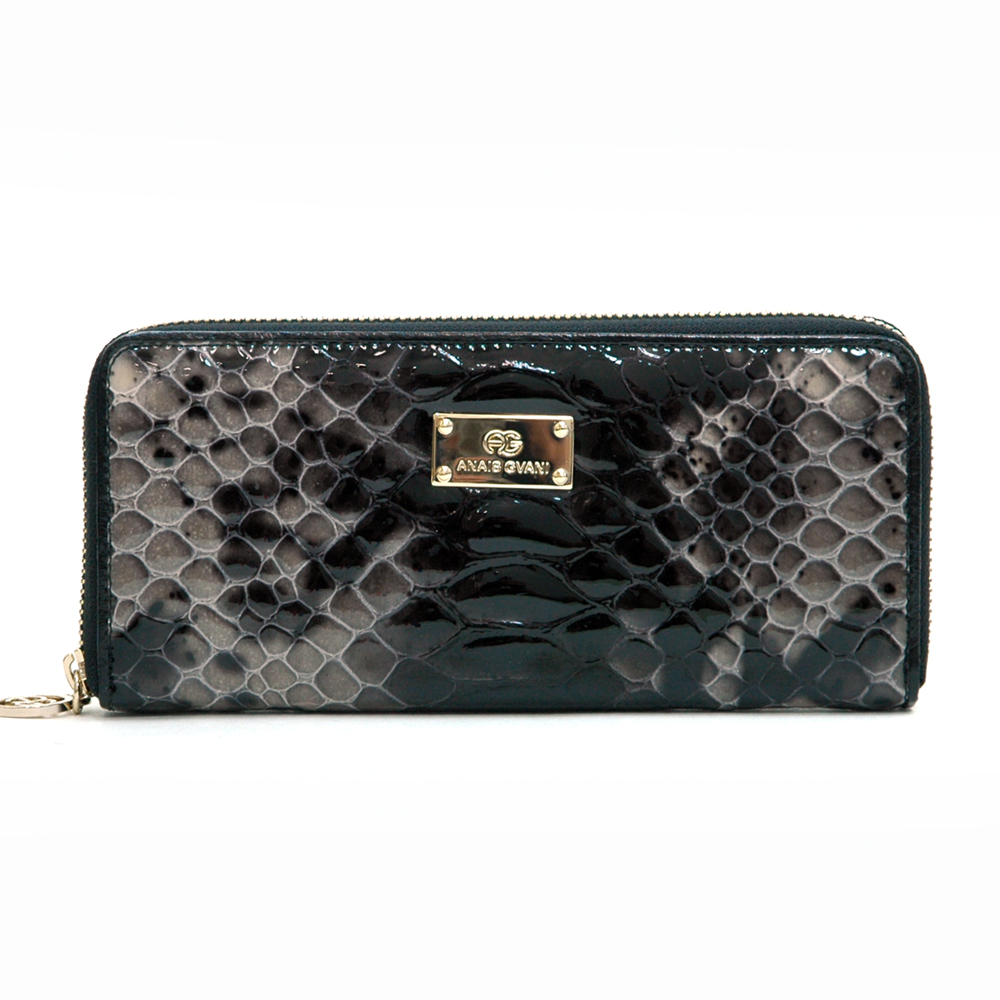 Anais Gvani® Sakura Park Long Snakeskin Genuine Leather Zip Around Wallet
