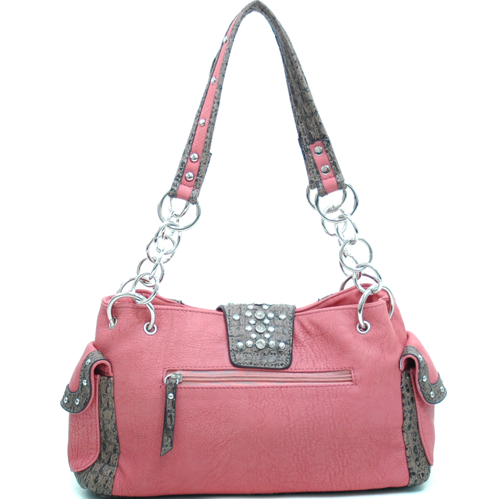Women's Western Rhinestone Studded Shoulder Bag with Croco Trim & Buckle Accent-Pink/Taupe