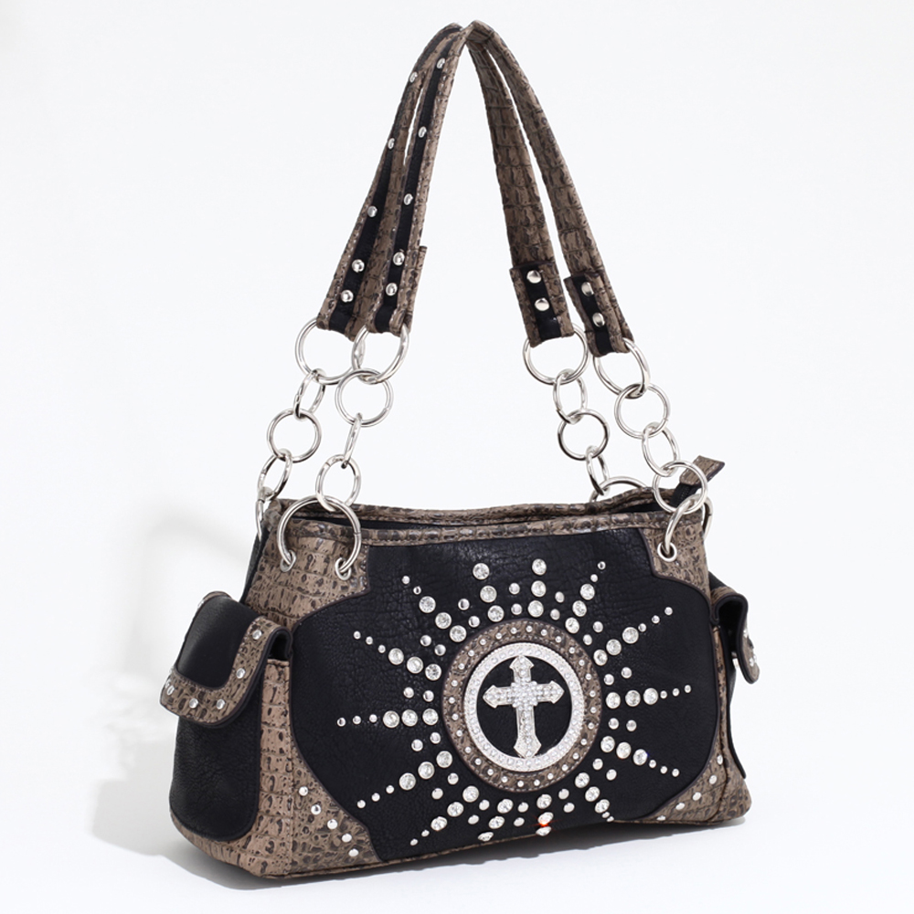 Women's Western Rhinestone Studded Shoulder Bag with Croco Trim & Cross Accent-/Taupe