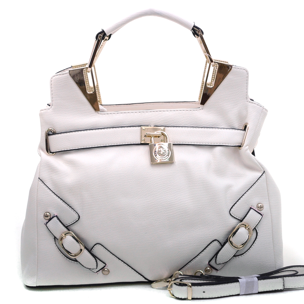 Anais Gvani ® Women's Belted Satchel with Logo Lock & Gold Accents-Cream