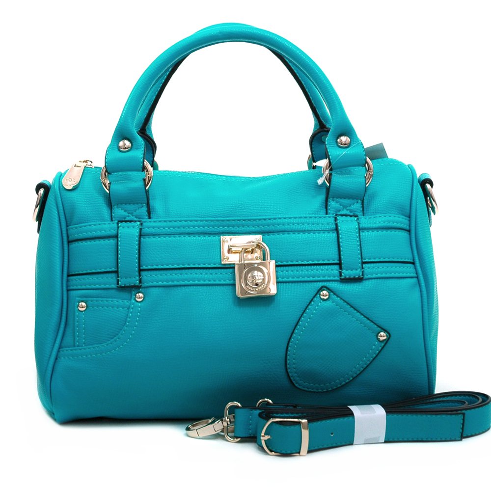 Anais Gvani ® Women's Petite Belted Satchel with Front Pocket Decor & Bonus Strap-Turquoise