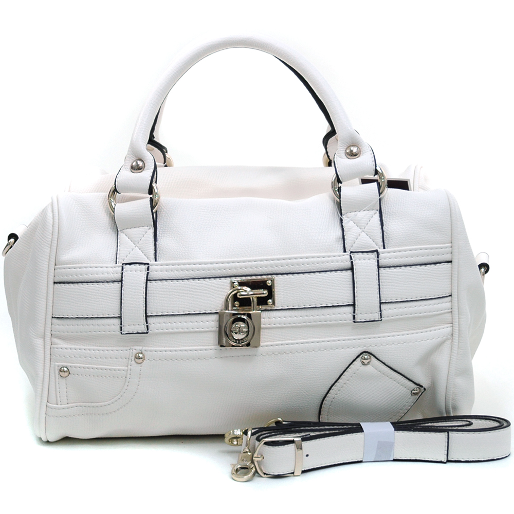 Anais Gvani® Women's Belted Satchel with Front Pocket Decor & Bonus Strap