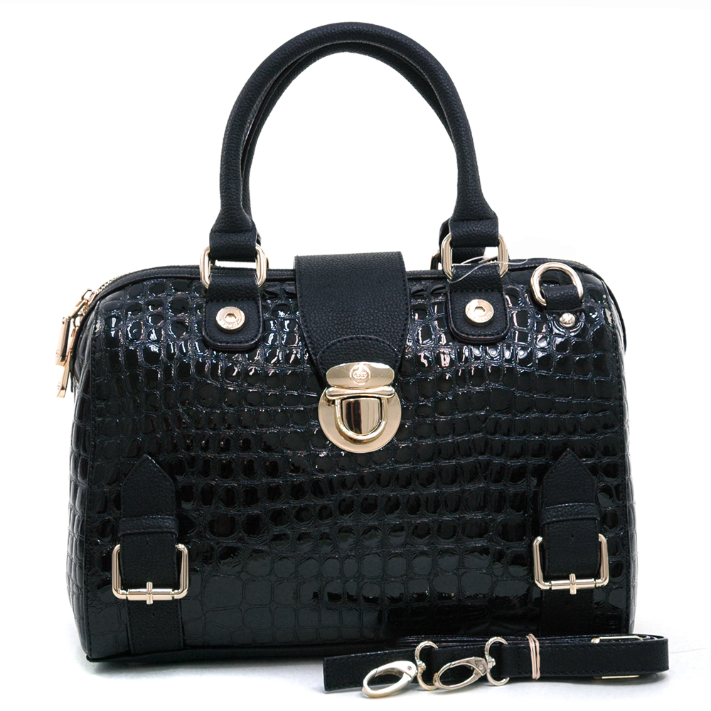 Anais Gvani® Battery Park Snap Buckle Croco Satchel