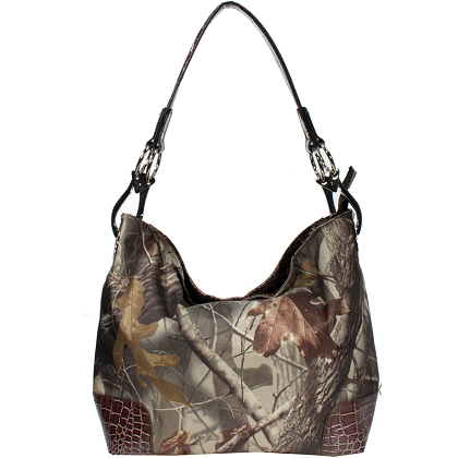 Realtree ® Camouflage Tote Bag Handbag w/ Leather-like Trim -brown/camouflage
