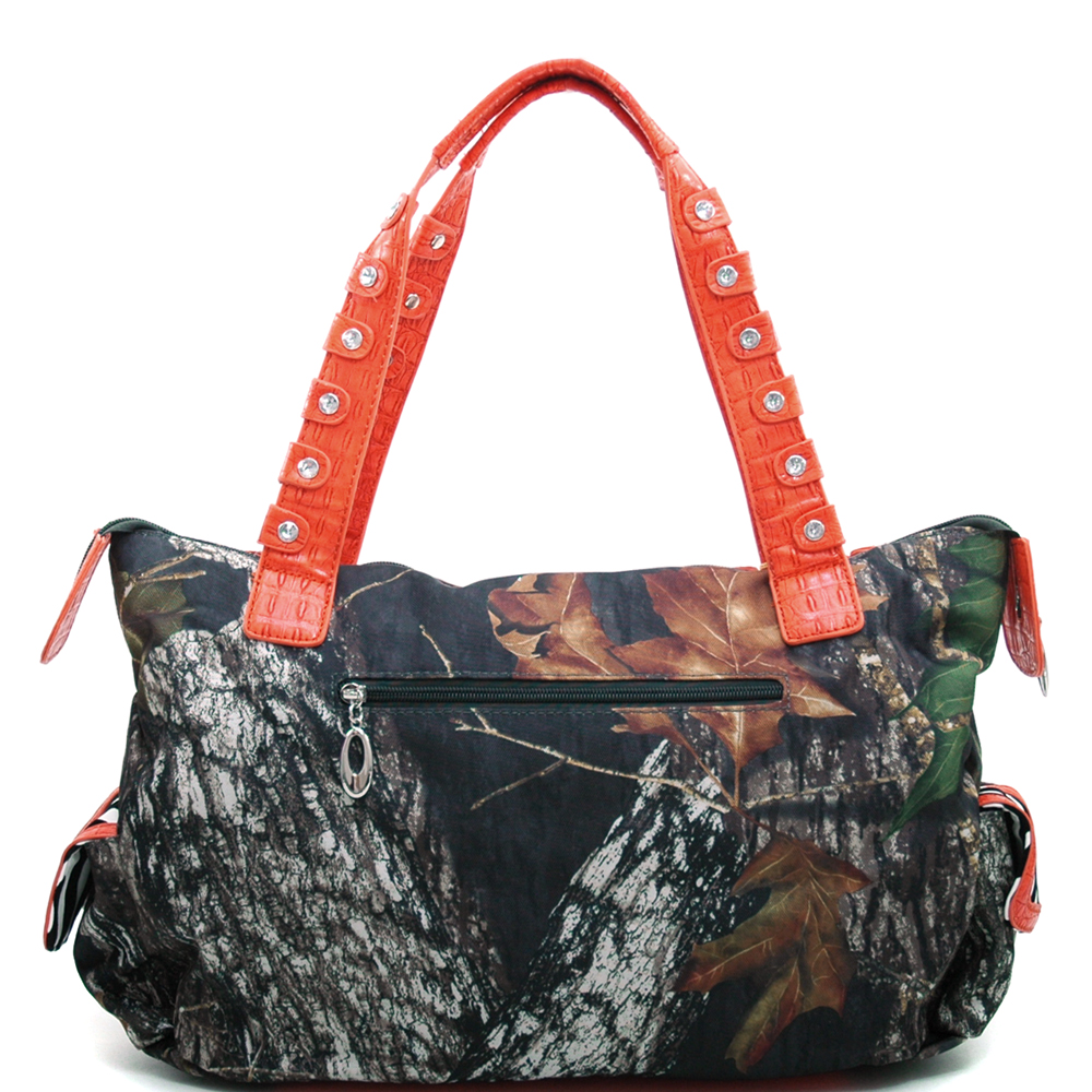 Mossy Oak® Arctic Camo Rhinestone Cross & Zebra Trim Shoulder Bag