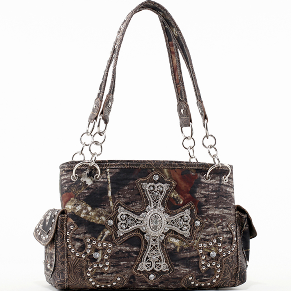 Mossy Oak Studded Camo Shoulder Bag with Rhinestone Cross & Floral Trim
