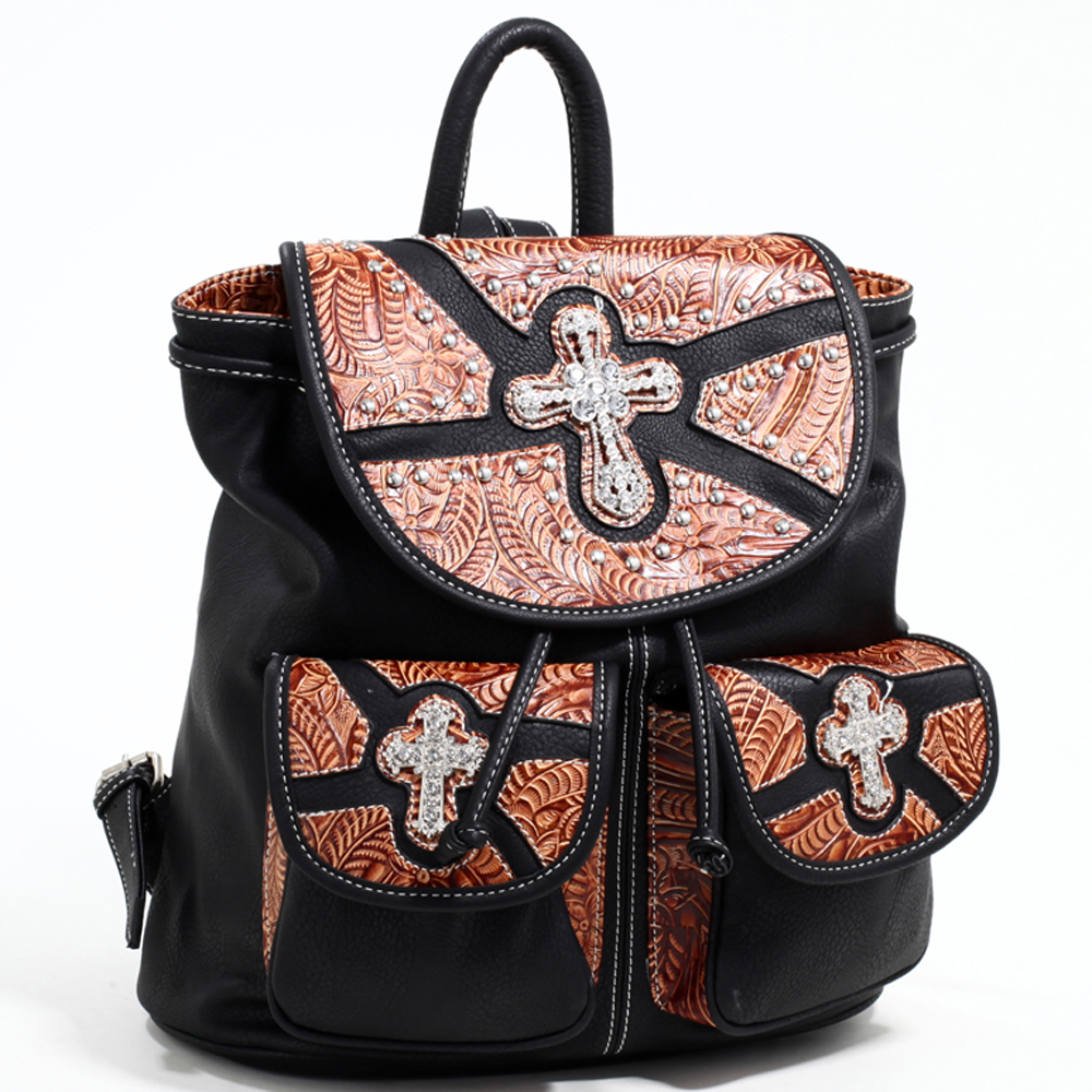 Women's Western Style Backpack w/ Rhinestone Cross & Floral Trim - Black/Brown