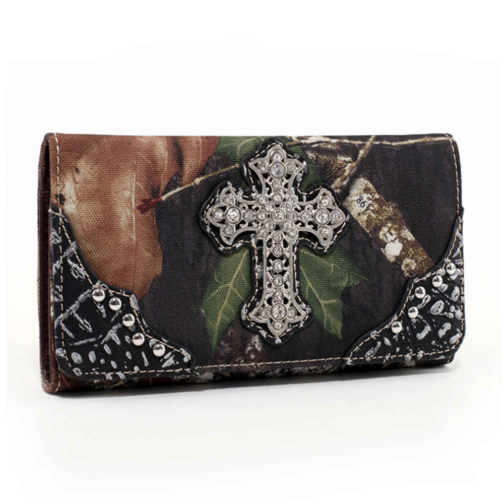 Mossy Oak® Arctic Camo Rhinestone Cross & Croco Trim Folded Wallet