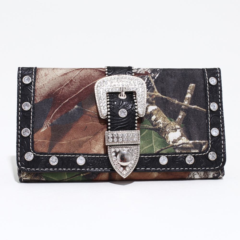 Mossy Oak® Camouflage Tri-fold Wallet With Rhinestone Buckle & Floral Trim