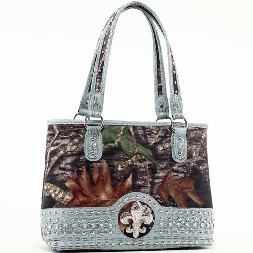 Mossy Oak® Infinity Camo Fleur-de-Lis Shoulder Bag with Studded Croco Bottom