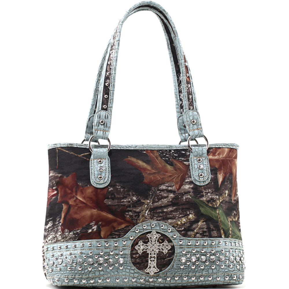 Mossy Oak® Arctic Camo Rhinestone Cross & Studded Croco Bottom Shoulder Bag