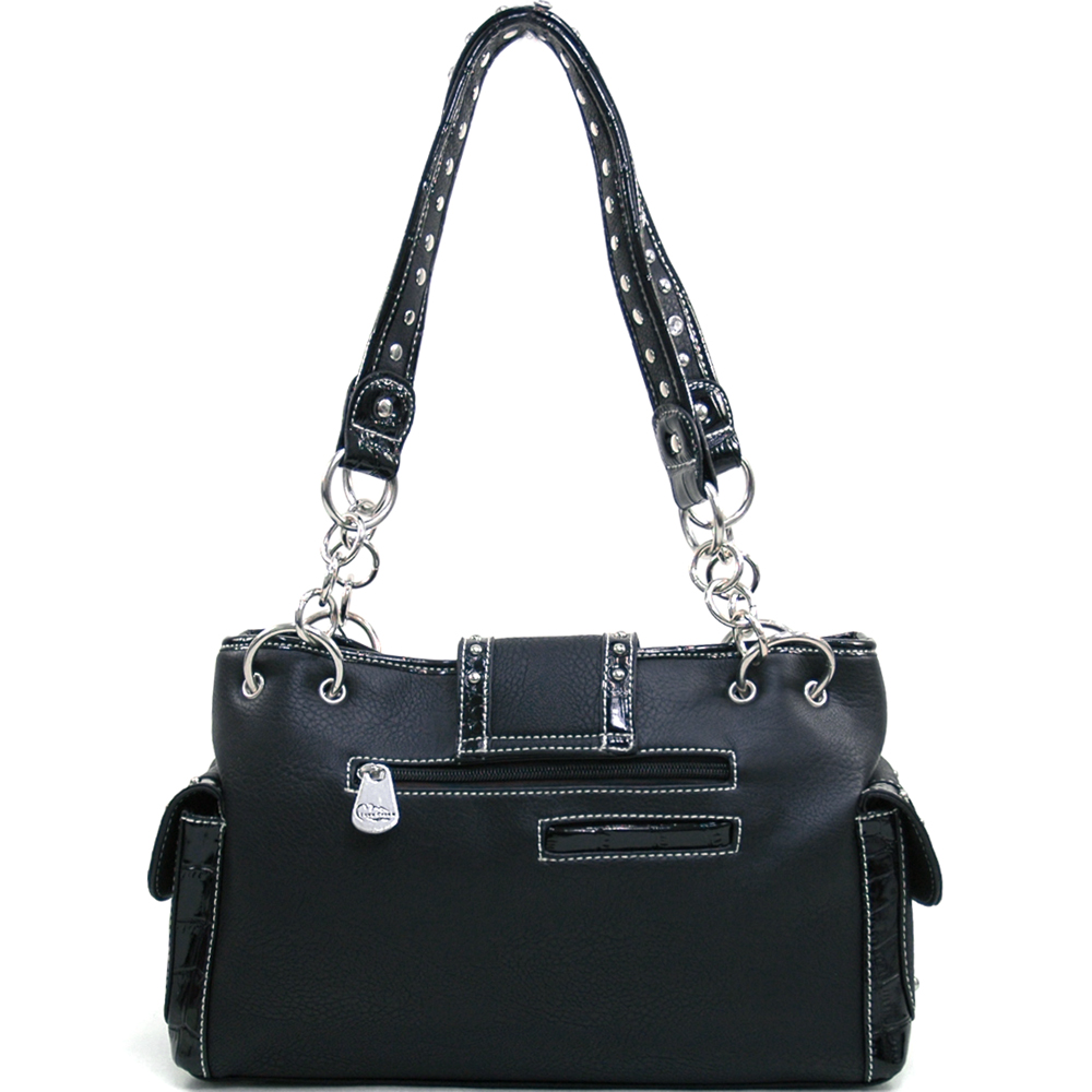 Love Creek Western Rhinestone Studded Shoulder Bag with Dual Six-Shooter Adornmen-Black