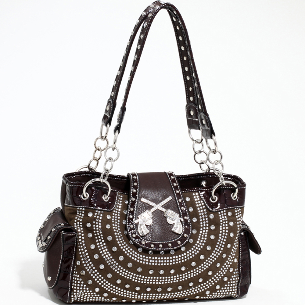 Love Creek Western Rhinestone Studded Shoulder Bag with Dual Six-Shooter Adornmen-Coffee