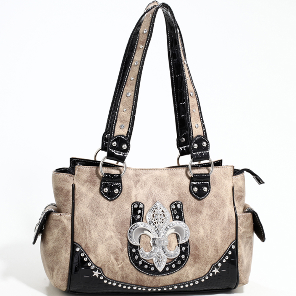 Love Creek Western Rhinestone Studded Shoulder Bag with Fleur de Lis Adornment