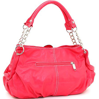 Fashion Flower Patch Shoulder Bag w/ Rhinestone Accent - Red